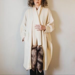Vintage 80s Heirloom Ivory Wool Blend Cape Coat